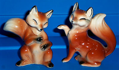 Vintage Set Japan Relco Fox S&P Salt And Pepper Shakers / RELCO Stickers