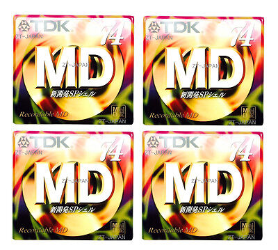 TDK Recordable MD MiniDiscs 74 Min 4pc High quality Made in Japan mini disk SP