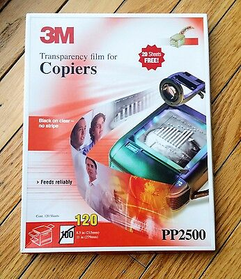 3M Transparency Film For Copiers 120 Pack PP2500 8.5x11 OPENED - AS IS