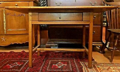 AMERICAN CHIPPENDALE ONE DRAWER WHITE PINE TAVERN TABLE w BREADBOARD TOP c 1780