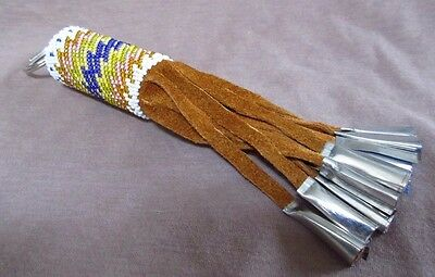 Native Navajo Thick Beaded Keychain with metal tips by Diane Clark - M0063
