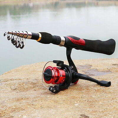 Portable Fishing Rod and Spinning Left Right Hand Fishing Reel Travel Combo Kits