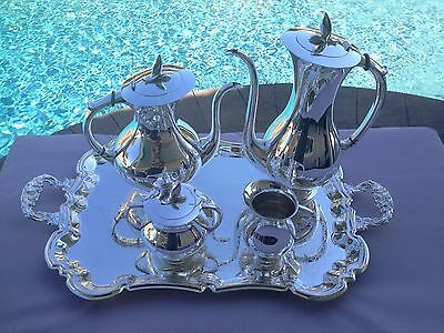 Rare Large Modern German Museum Quality 5 Pc Sterling Tea / Coffee Set W/ Tray