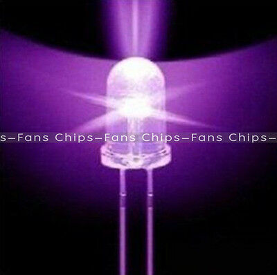 100pcs F5 5mm Round Ultra Violet LED UV Light 390-395nm Purple Lamp