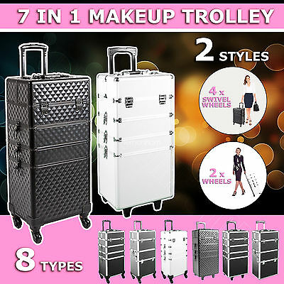 7/5 in 1 Portable Cosmetics Beauty Makeup Case Carry Bag Organiser Trolley