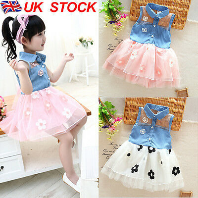 Kids Baby Princess Bridesmaid Jeans Flower Girl Dresses Wedding Party Dresses UK