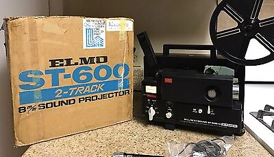 ELMO ST-600 M Sound/Record/Silent 8mm FILM PROJECTOR~BOXED! W/ Microphone