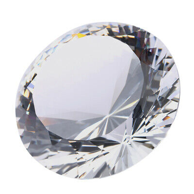 Personalised Diamond Shape Crystal Glass Paperweight,Engraved with Gift Box 80mm