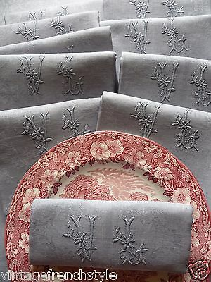 """10 Antique French Linen Napkins """"dior Grey """" Pure Linen French Linen Damask"""