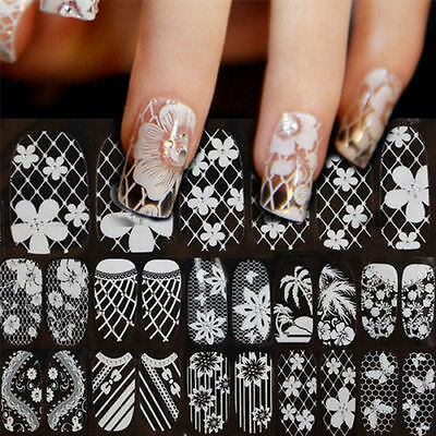 3D Lace Nail Art Manicure Tips Stickers Decal Decoration SELF ADHESIVE TRANSFERS