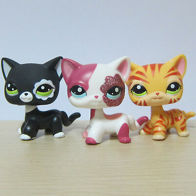 3X Hasbro Littlest Pet Shop LPS Toy #1451 #2291 #2249 Short Hair Kitty Cat
