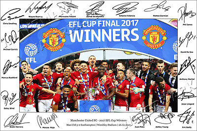Manchester United Signed Photo Poster Print Squad 2017 Man Utd Team Efl Pogba