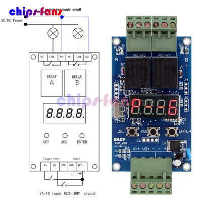 DC 12V Dual Programmable Relay Control Board Cycle Delay Timer Switch Module New