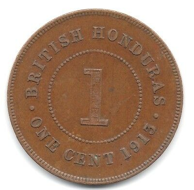 British Honduras  1913 One Cent Bronze Coin  -  Full 8 Pearls  -  Low Mintage
