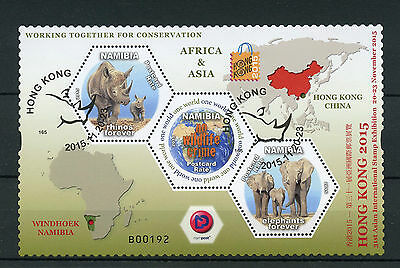 Namibia 2015 CTO Hong Kong Asian Int Stamps Exhibition 2v M/S Rhinos Elephants