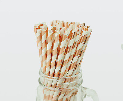 25 x Rose Gold Foil Stripe Paper Straws Drink Wedding Party Event Striped Straw