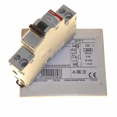 10 amp 10mA Type C compact RCBO (combo circuit breaker RCD trip) ABB DSN201 New