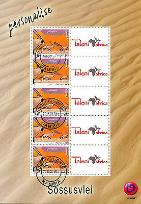 Namibia 2016 CTO Sossusvlei Personalised Stamps 5v M/S Antelopes Wild Animals