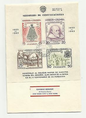 Colombia 1954 m/s used on airmail cover