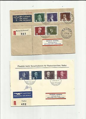 Liechtenstein 1948   airmail covers nice franking incl first day