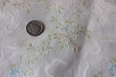 Antique Exquisite French Silk Textile Fabric c1905~Roses & Silk Ribbons~Dolls