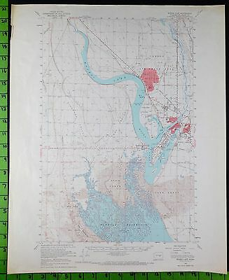 Moses Lake Washington 1956 Antique Topographic Map 17x21 Inches