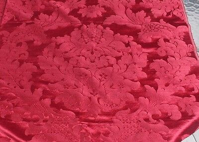 "Gorgeous Antique French 19thC Red Silk Frame Textile Fabric Panel~57""LX51""W"