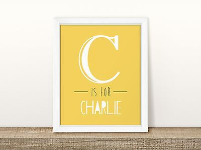 Large Letter (Yellow) - Personalised Name Nursery Print - Children's Wall Art