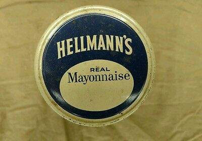 ANTIQUE Clear Glass Collectible Hellmann's Mayonnaise Jar/Container/Bottle W/Lid