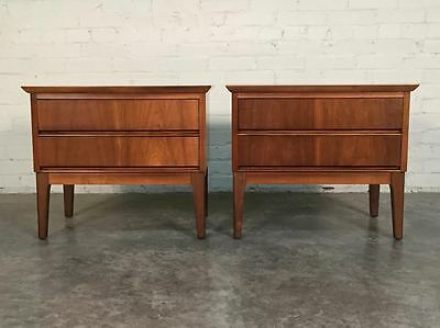 Pair Mid-Century Modern 2-Drawer Walnut Nightstands ~ By Dixie