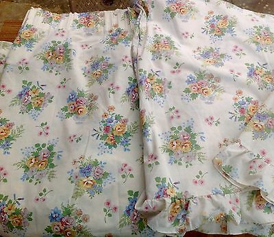 """Pair Of Cream Floral Curtains 38"""" Wide 51"""" Long - Lots Of Shabby Chic Styling"""