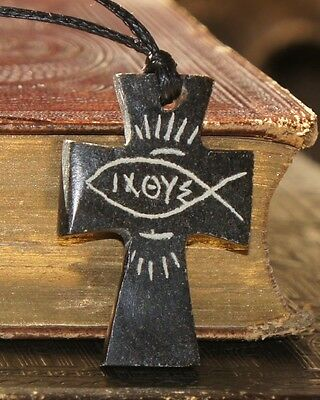 Hand Carved Serpentine Stone Pendant Necklace Cross - Biblical Antioch Ichthys