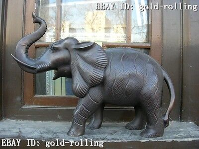 "15""Chinese Pure bronze carved eximous Lucky lifelike Art Elephant statue"
