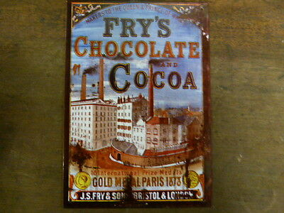 Reproduction Vintage Metal Advertising Sign: Fry's Chocolate And Cocoa