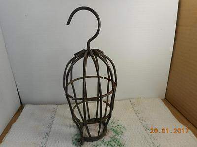 Old Vintage Steampunk Retro Industrial Machine Age Trouble Light Metal Wire Cage