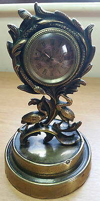 A 19th Century Brass Mantel Clock, with Verge Watch Movement, for repair........