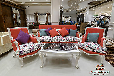 Contemporary Living Room Fabric SET Sofa & 2 chairs and coffee table.
