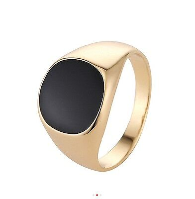 Gold Plated Mens Onyx Signet New Ring Band Sizes S to Y