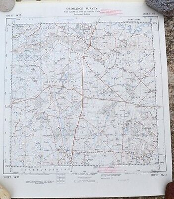 Vintage 1950's/60s unfolded sheet map of Staffordshire: Newborough area SK12