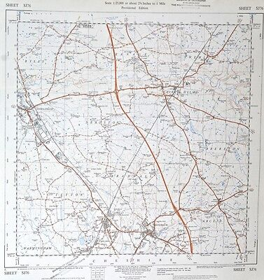 Vintage original 50s/60s unfolded sheet map Cheshire: Sandbach, Middlewich SJ76