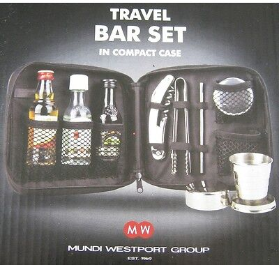 mini Travel Bar in Black Compact Case New by Westport Expandable Tumblers stir