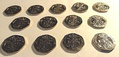 20p Coins Uncirculated Each Year from 1993-2005 (13 Coins in Total) Twenty Pence