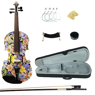 Kinglos Full Size 4/4 Colourful Solid Wood Student Violin Kit Ebony Fittings