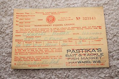 Wisconsin Conservation Commission Nonresident Fishing License Madison, Wis