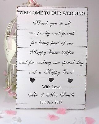 Personalised Welcome To Our Wedding Vintage Wedding Sign Shabby but Chic