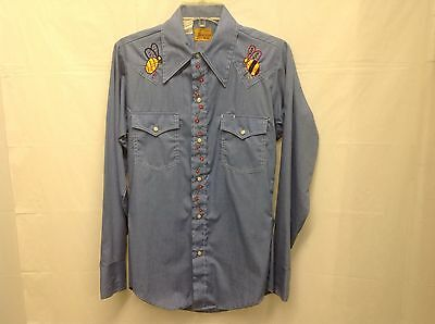 Vintage 70's Western Wear Sears Embroidered Chambray Shirt Small Rockabilly