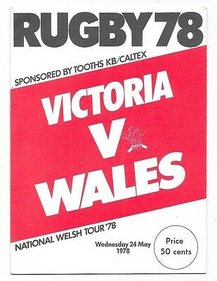 1978 - Victoria v Wales, Touring Match Programme.