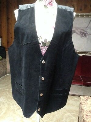 Sz XL Black Suede Leather BIKER/WESTERN MENS Snap Button Suit Vest Waistcoat