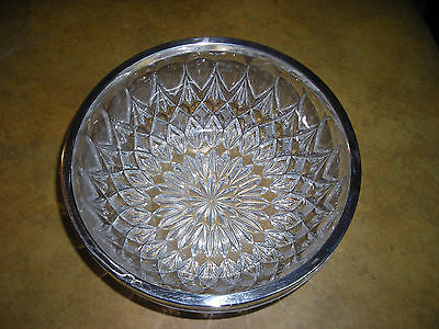 Vintage! Heavy Large Pressed Glass Bowl with Silver Trim