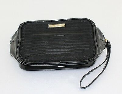 ae3d79b9388f Giorgio Armani Patent Gold Black Makeup Case Cosmetic Pouch Travel Bag.